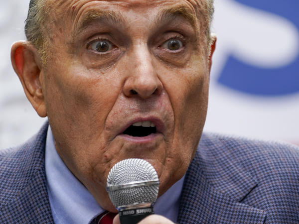 Former New York City Mayor Rudy Giuliani speaks during a campaign event for Republican mayoral candidate Curtis Sliwa on June 21 in New York.