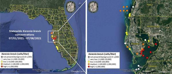 Map of red tide
