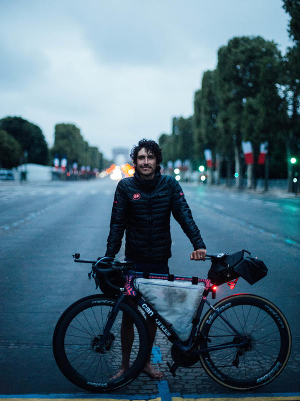 Lachlan Morton rode the whole route of the Tour de France without the kind of help official racers get, like mechanics and meals. He started behind official Tour racers and finished five days ahead.