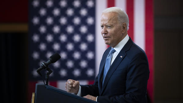 President Biden addresses the issue of voting rights Tuesday at the National Constitution Center in Philadelphia.