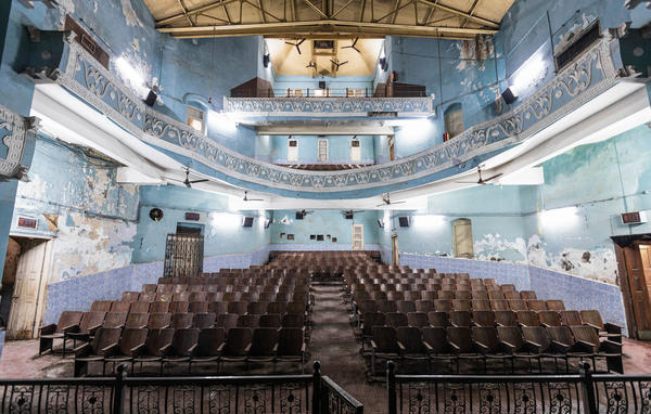 A view of the Edward Theatre in Mumbai from the vantage point of its stage and screen. Between 2010 and 2019, the number of single-screen cinemas across India dwindled from about 10,000 to less than 7,000. Dozens more have announced they're shutting down this year after a deadly second wave of infections.