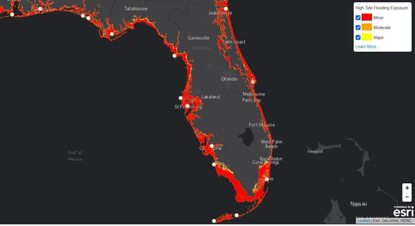 Map of high tide flooding by 2050