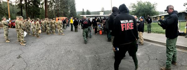 Sixty-four members of the Oregon National Guard were deployed to the fire camp in Chiloquin, OR on Wednesday to assist with evacuations and road closures on the Bootleg Fire.