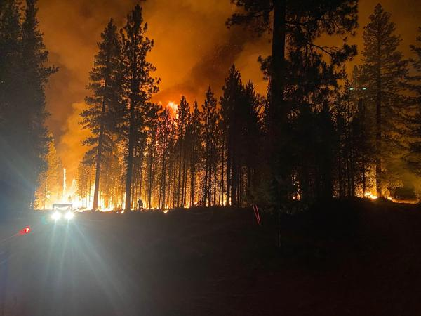 Booleg Fire night operations overnight from July 14 to July 15, 2021.