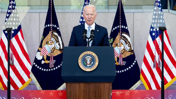 President Biden speaks about voting rights at the National Constitution Center in Philadelphia on Tuesday.