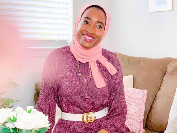 Fatima Ibrahim wears Haute Hijab's recycled chiffon hijab on Eid al-Fitr.
