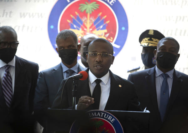 Haiti's interim Prime Minister Claude Joseph gives a press conference in Port-au-Prince on Friday, the week after the assassination of Haitian President Jovenel Moïse's on July 7.