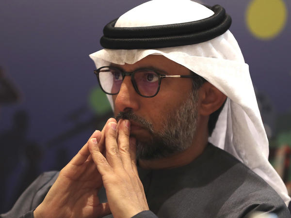 """In this Jan. 8, 2020 file photo, UAE Energy Minister Suhail al-Mazrouei attends the UAE Energy Forum 2020 in Abu Dhabi, United Arab Emirates. Al-Mazrouei said Sunday that OPEC and allied countries have reached a """"full agreement"""" after an earlier dispute that roiled oil prices."""