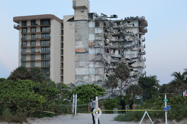 View of the partial building collapse of the Champlain Towers in Surfside