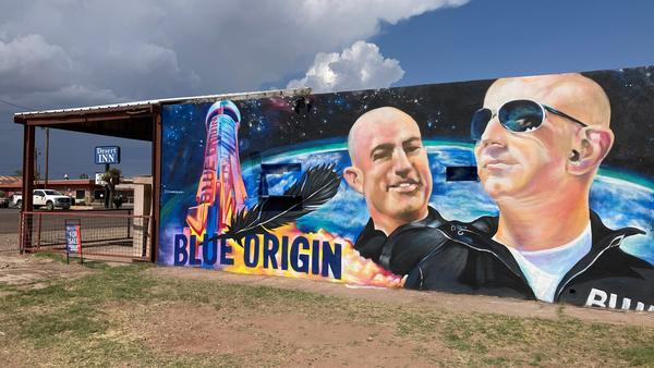 A mural of Blue Origin founder Jeff Bezos adorns the side of a building in Van Horn, Texas, over the weekend. Bezos launched into space Tuesday morning from Blue Origin's facilities in the town.