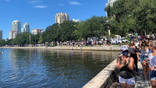 Hundreds marched on Saturday as part of a Rally Against Red Tide along St. Petersburg's downtown waterfront.