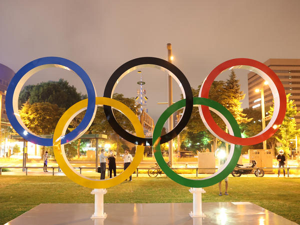The Olympic rings at Odori Park in Sapporo Hokkaido, Japan on Tuesday.