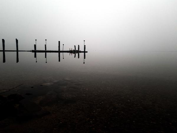 Smoky conditions at Priest Lake in northern Idaho.