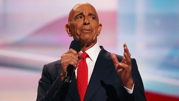Thomas Barrack delivers a speech at the Republican National Convention in July 2016.