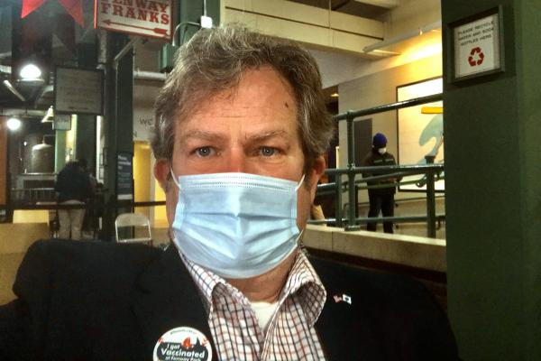 Tom Mountain, vice chair of the MassGOP, took a selfie just after getting his COVID vaccine. (Courtesy Tom Mountain)