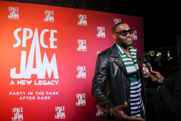LeBron James attends the Space Jam: A New Legacy Party in The Park After Dark at Six Flags Magic Mountain in Valencia, California.