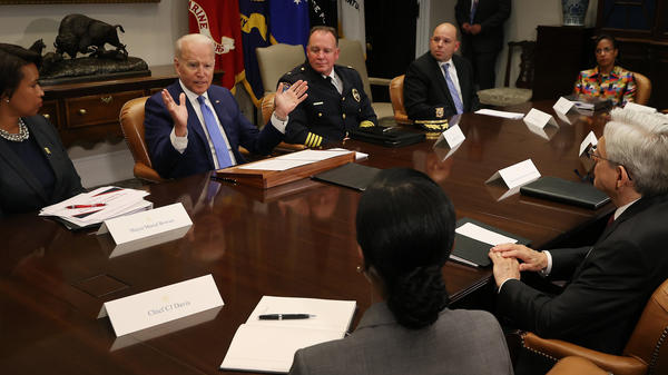 President Biden hosts a White House meeting about reducing gun violence on July 12. Violent crime is on the rise in many U.S. urban areas, and Democratic political strategists believe the White House needs to take on the issue of crime directly.