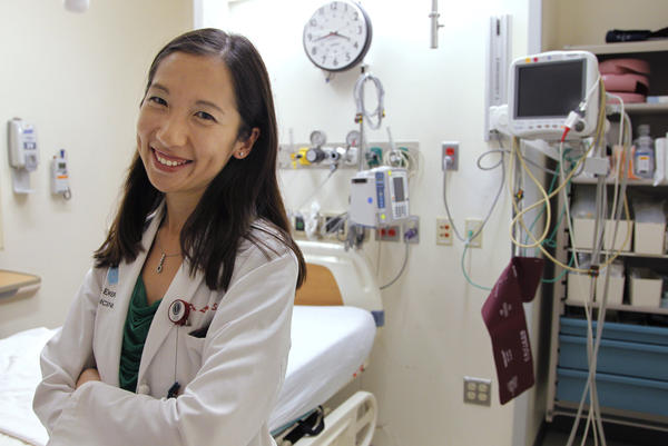 """Dr. Leana Wen is in favor of COVID-19 vaccine mandates. """"I don't think that people should have the choice to infect others with a potentially fatal and extremely contagious virus,"""" she says. Wen is pictured above in the emergency department at Brigham and Women's Hospital in Boston on Aug. 14, 2012."""