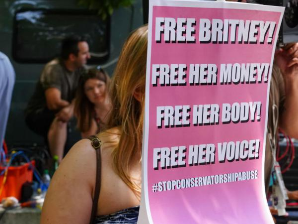#FreeBritney activists outside of a Los Angeles court hearing regarding the Britney Spears conservatorship on July 14.