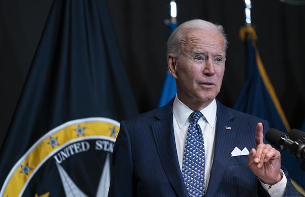 President Biden delivers remarks Tuesday while visiting the Office of the Director Of National Intelligence in McLean, Va.