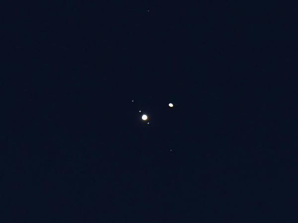 Saturn (right) with Jupiter in the night sky over Burnsville, N.C., in December during an event known as the great conjunction.