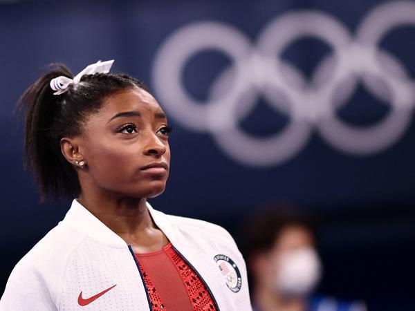 U.S. gymnast Simone Biles watches the artistic gymnastics women's team final during the Tokyo Olympics at the Ariake Gymnastics Centre on Sunday.