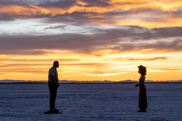 Winston Duke (left) and Zazie Beetz in a realm where souls are auditioned for life on Earth in <em>Nine Days.</em>
