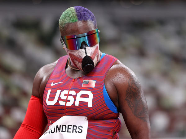 Raven Saunders turned heads with her unique look for Friday's qualifying round in the women's shot put at the Tokyo Olympics. Saunders had one of the best throws of the day, earning her a spot in this weekend's final.
