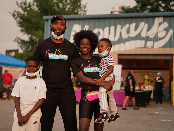 Siree and Ayana Morris, the founders of the Newark Moonlight Cinema, and kids.