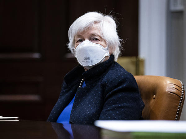 Treasury Secretary Janet Yellen listens during a meeting with President Biden in the White House on March 5. Yellen on Monday proposed a minimum global tax rate for corporations.