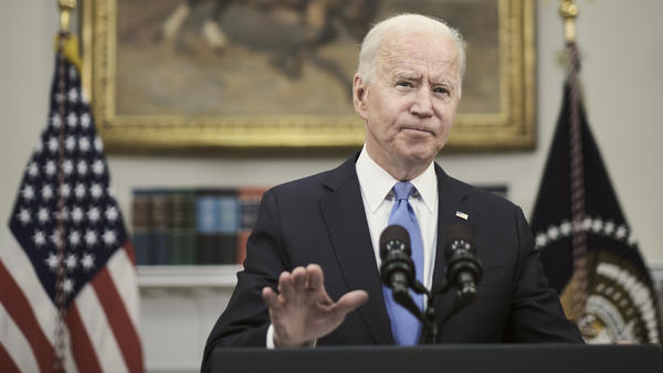 President Biden answers a question about the conflict between Israel and Hamas militants on Thursday at the White House. His public comments on the situation in the Middle East have been limited while the administration says it is focused on diplomacy behind the scenes.