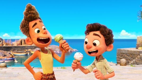 Two sea creatures go undercover as boys in a small Italian Riviera town in the charming Pixar film <em>Luca</em>.