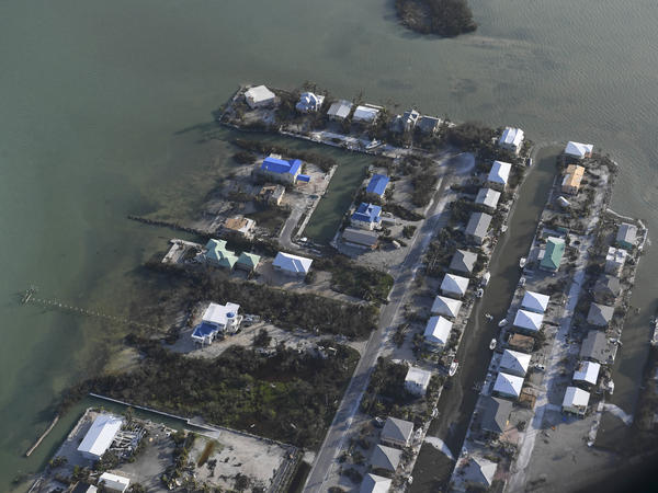 Hurricane Irma damaged homes in the Florida Keys in 2017. A new study finds buildings in the contiguous U.S. are concentrated in disaster-prone areas.