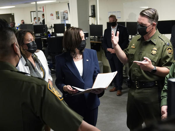 Vice President Harris tours a U.S. Customs and Border Protection facility Friday in El Paso, Texas, with Rep. Veronica Escobar, D-Texas. Harris has been under pressure from Republicans to visit the southern border to see conditions there.