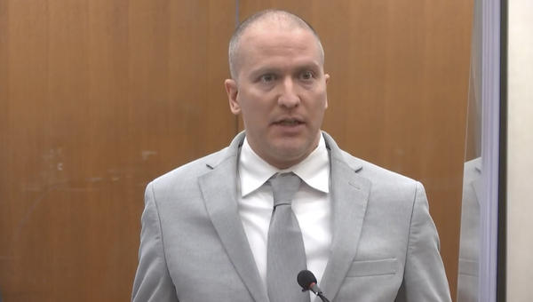 Former Minneapolis police Officer Derek Chauvin addresses the court Friday as Judge Peter Cahill presides over his sentencing at the Hennepin County Courthouse in Minneapolis.