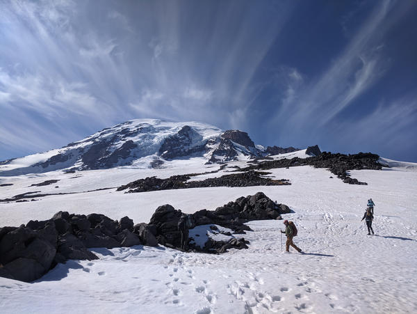 Ice worm researchers Scott Hotaling and Peter Wimberger led a trip to study life on the glaciers of Mount Rainier in June. For a long time, Hotaling says, biologists have written off high-altitude glaciers as sterile, lifeless places. But that's no longer.