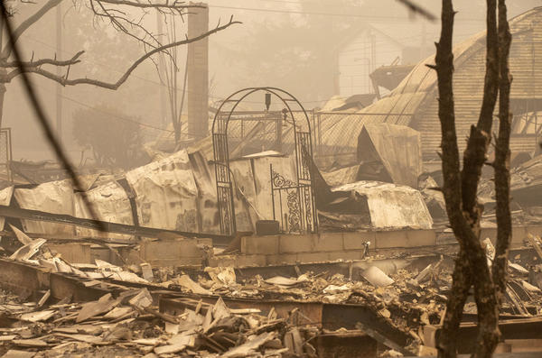 Many homes were destroyed by the Beachie Creek Fire in Gates, Ore., in September 2020. The Federal Emergency Management Agency is supposed to help people who have lost property, maybe even their homes, in a natural disaster. But year after year, FEMA has been denying a higher percentage of claims.