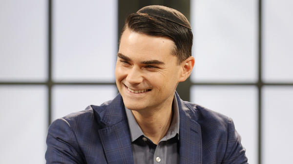 American commentator Ben Shapiro is seen on set during a taping of the <em>Candace</em> podcast in March in Nashville, Tenn.