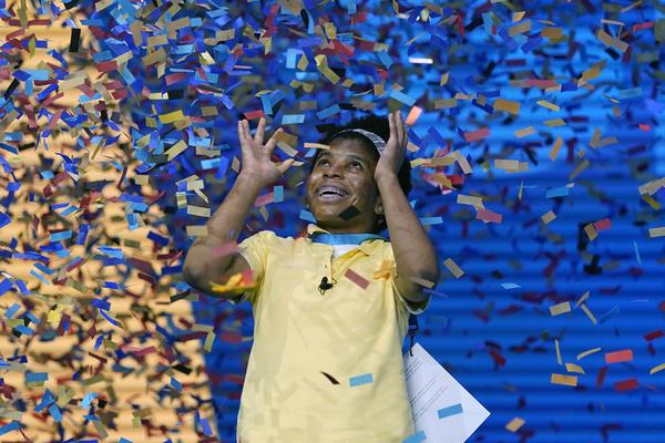 Zaila Avant-garde, 14, from Harvey, La., celebrates winning the finals of the 2021 Scripps National Spelling Bee on Thursday.