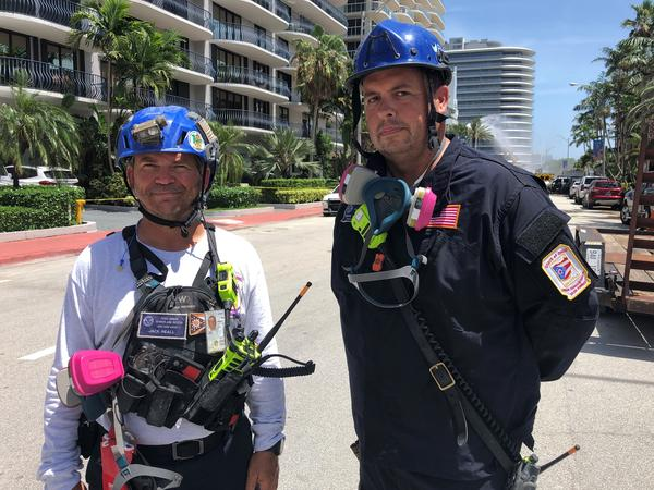 Jack Reall, left, and Ryan Hogsten are members of the Ohio Task Force 1 Urban Search and Rescue Team. They were deployed to Surfside, Fla., after the condo collapse.