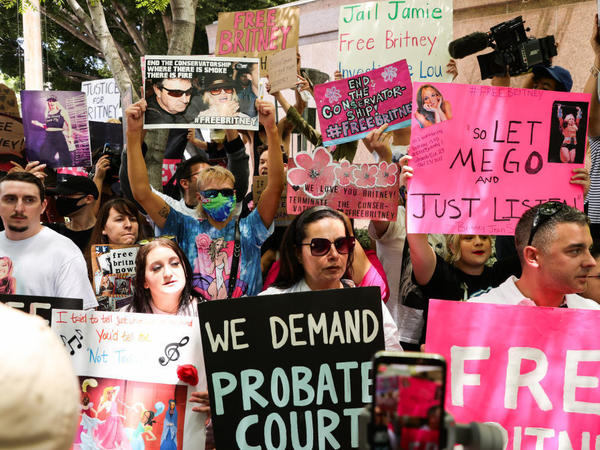 #FreeBritney activists protest outside a conservatorship hearing for pop singer Britney Spears on June 23 in Los Angeles.