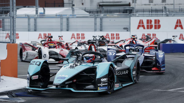 Major automakers like Jaguar develop all-electric race cars to compete in Formula E. Here Mitch Evans, in a Jaguar, leads rivals during the ABB FIA Formula E Championship in New York City on July 11.