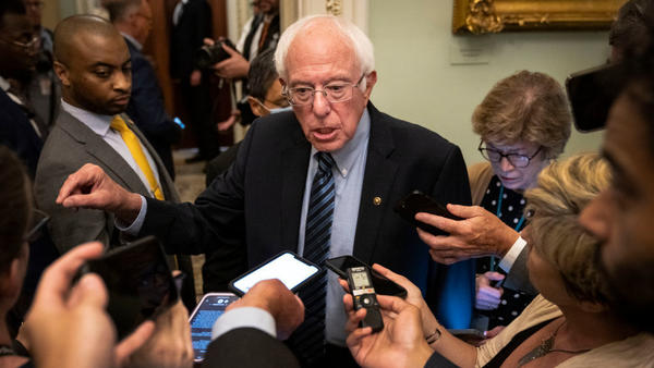 Sen. Bernie Sanders, chairman of the Senate Budget Committee, faces reporters after a lunch Wednesday with President Biden and Senate Democrats at the U.S. Capitol.