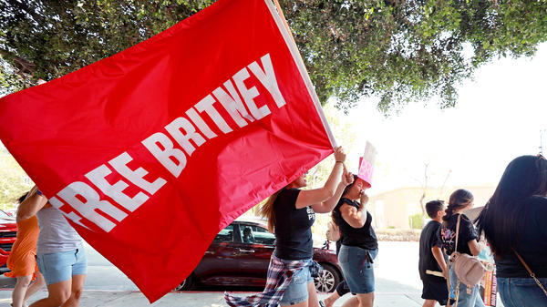 Protesters attend a #FreeBritney rally outside the Los Angeles Superior Court on Wednesday. A judge has cleared pop star Britney Spears to choose her own lawyer, and she has chosen former federal prosecutor Mathew Rosengart.