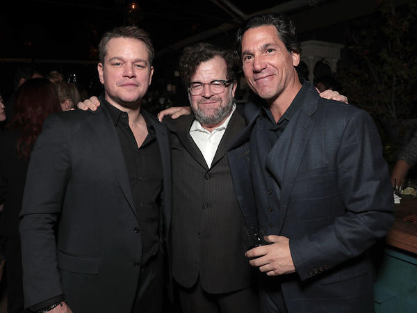 Lawyer Mathew Rosengart (right), with actor Matt Damon and Kenneth Lonergan at a party in Los Angeles in 2016 in Los Angeles, California.