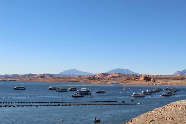 Anchored houseboats hang out at Hall's Crossing Marina at Lake Powell in southern Utah.