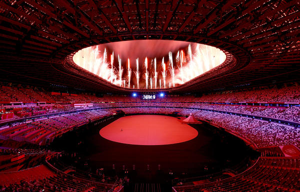 Fireworks explode Friday during the opening ceremony of the Tokyo Games at Olympic Stadium in Tokyo.
