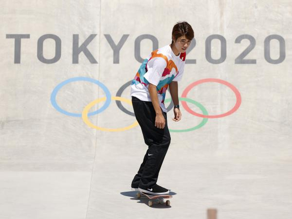 Yuto Horigome of Team Japan practices on the skateboard street course before winning a gold medal at the Tokyo Summer Olympic Games at the Ariake Urban Sports Park on Sunday.