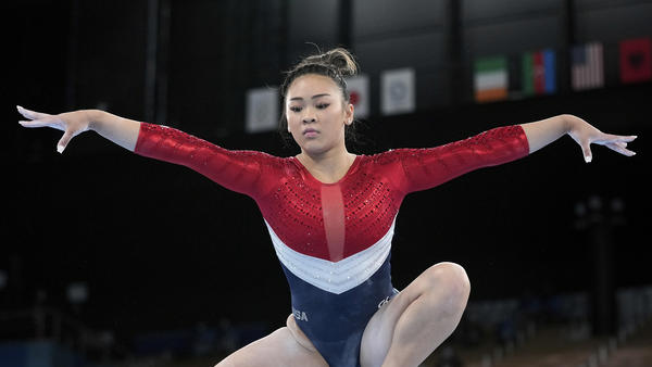 Sunisa Lee of the United States performs on the balance beam Tuesday during the artistic gymnastics women's final at the Tokyo Olympics.