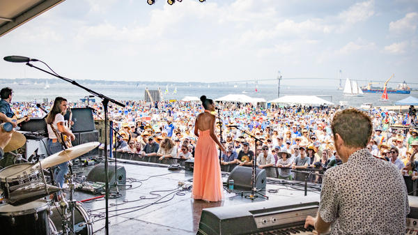 Allison Russell, center, performs during day five of the 2021 Newport Folk Festival on July 27, 2021 in Newport, R.I.